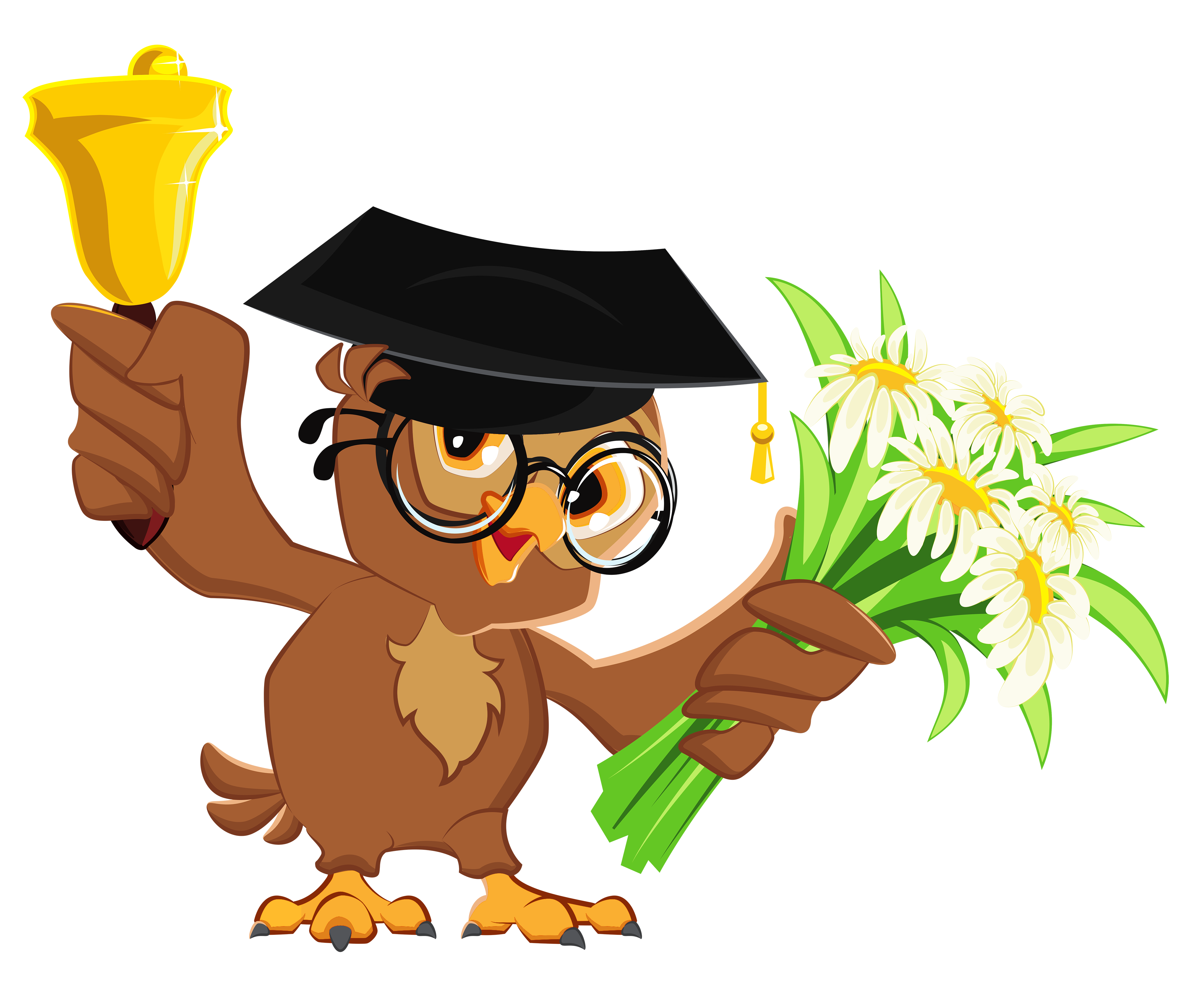 Owl with School Bell PNG Clipart Picture.