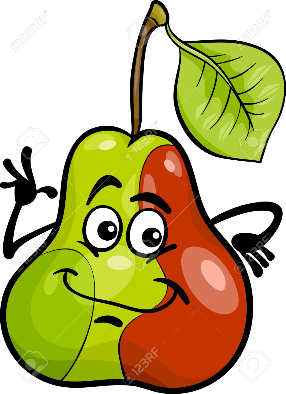 Cartoon Illustration Of Funny Pear Fruit Food Comic Character.