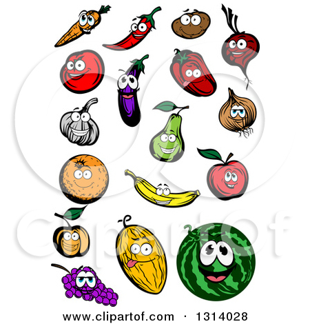 Clipart of a Carrot, Chili Pepper, Potato, Beet, Tomato, Eggplant.