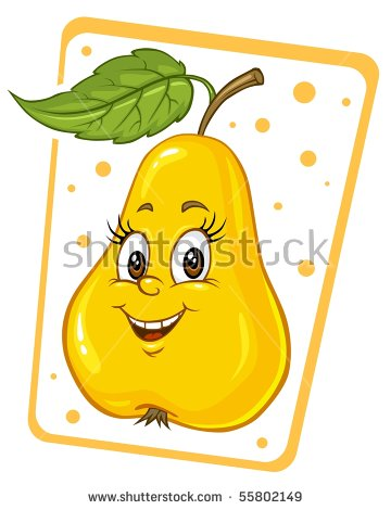 Cartoon Pear Clip Art Illustration Stock Vector 55802149.