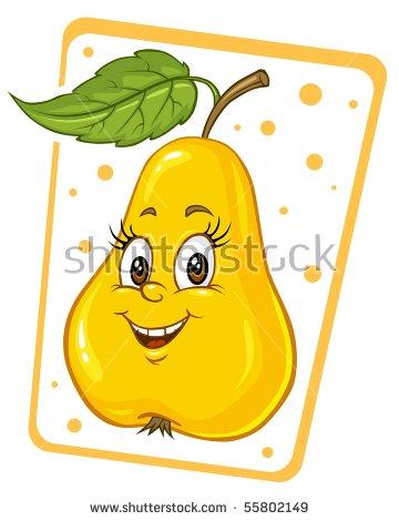 Cartoon Pear Clip Art Illustration Stock Vector 55802149.