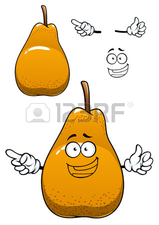 Fresh Pear Cartoon Character Depicting Juicy Bell Shaped Yellow.