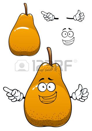 Fresh Pear Cartoon Character Depicting Juicy Bell Shaped Yellow.