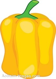 Clipart Illustration of A Yellow Bell Pepper.