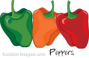 Clip Art of Bell Peppers in Different Stages of Ripeness.