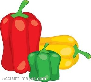 Clipart Illustration of Three Bell Peppers.