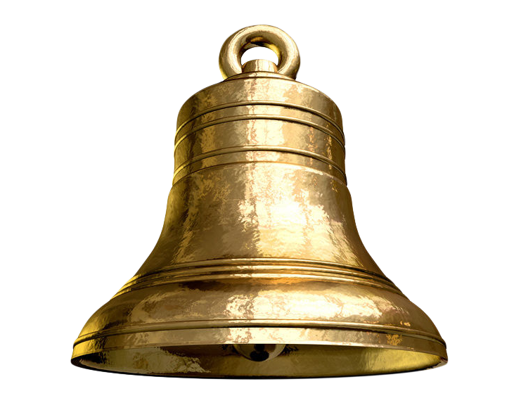 Golden Metal Hanging Bell PNG Transparent Image.
