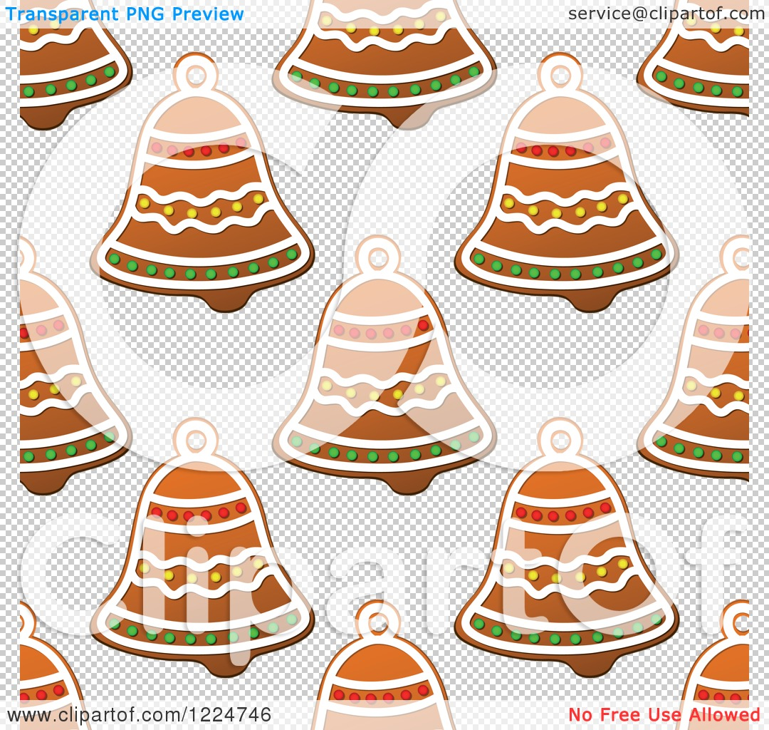 Clipart of a Seamless Background Pattern of Bell Shaped Christmas.