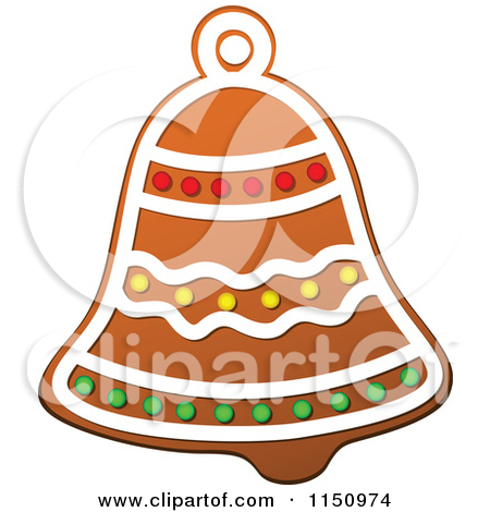 Clipart of a Christmas Bell Gingerbread Cookie.