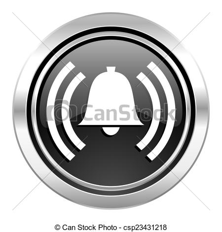 Clipart of alarm icon, black chrome button, alert sign, bell.