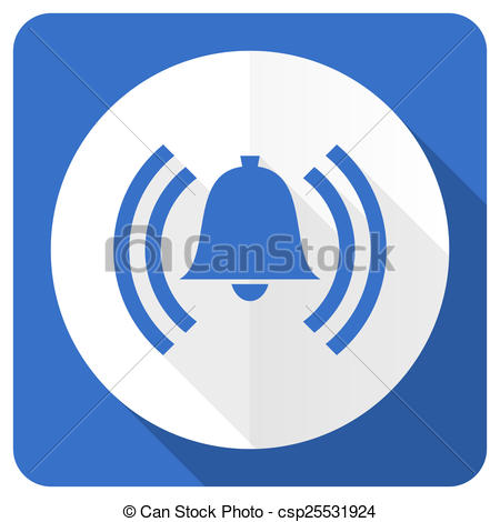 Clip Art of alarm blue flat icon alert sign bell symbol.