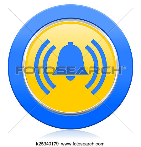 Stock Illustration of alarm blue yellow icon alert sign bell.