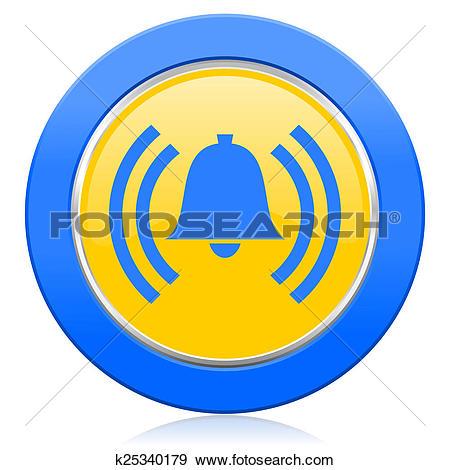 Stock Illustration of alarm blue yellow icon alert sign bell.