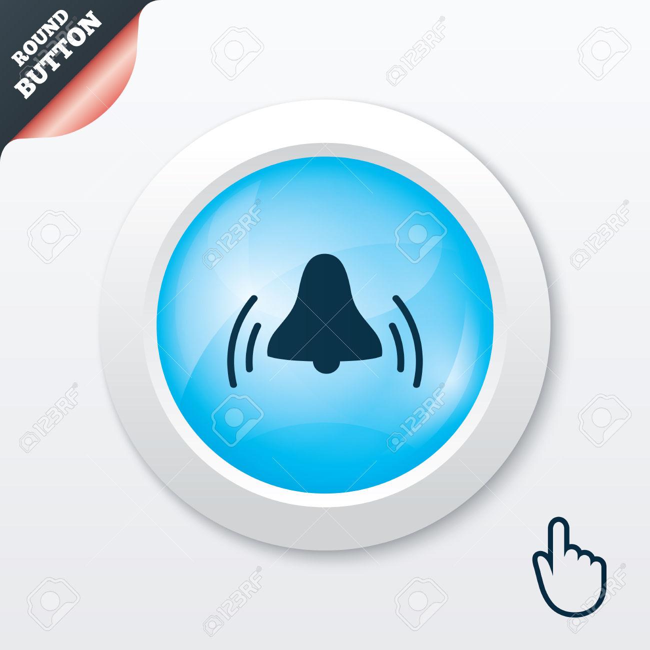 Alarm Bell Sign Icon. Wake Up Alarm Symbol. Blue Shiny Button.