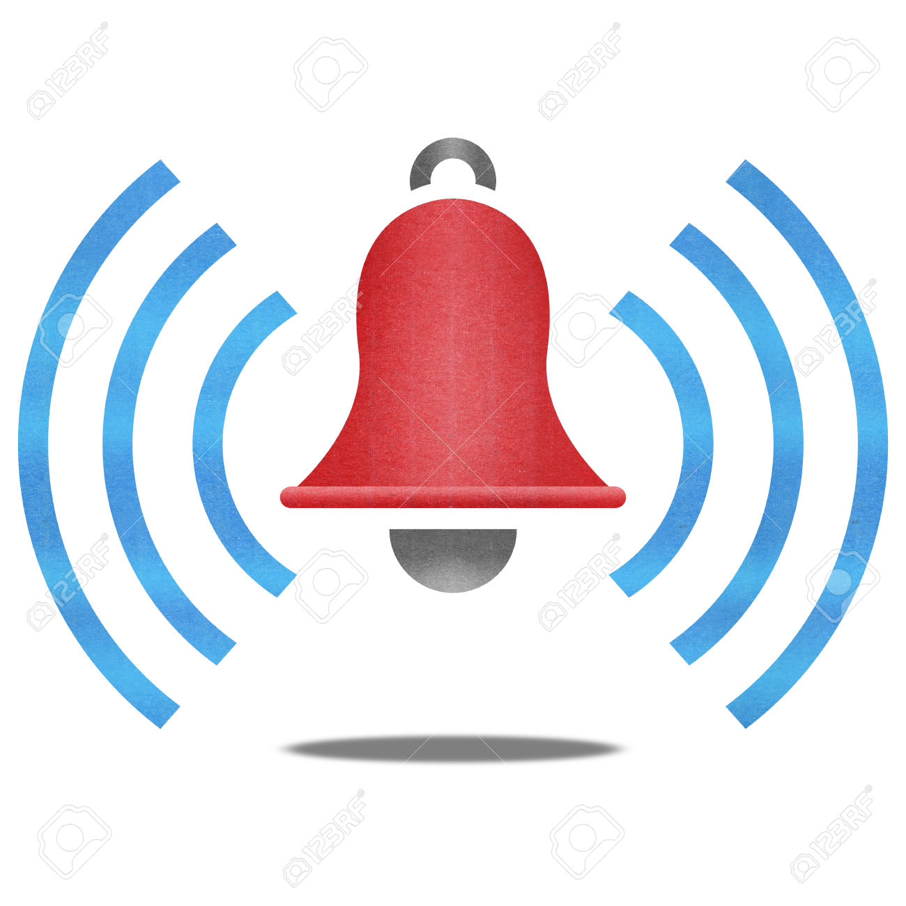 The Paper Cut Of Red Alarm Bell With Blue Signal Is Alert Symbol.