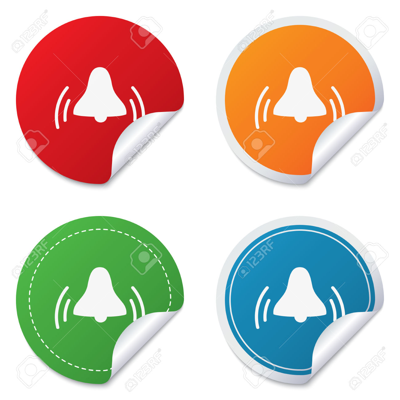 Alarm Bell Sign Icon. Wake Up Alarm Symbol. Round Stickers. Circle.