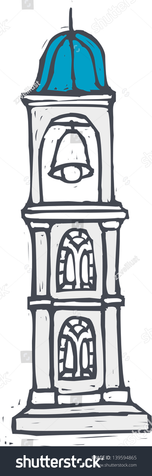 Vector Illustration Bell Tower Stand On Stock Vector (Royalty Free.