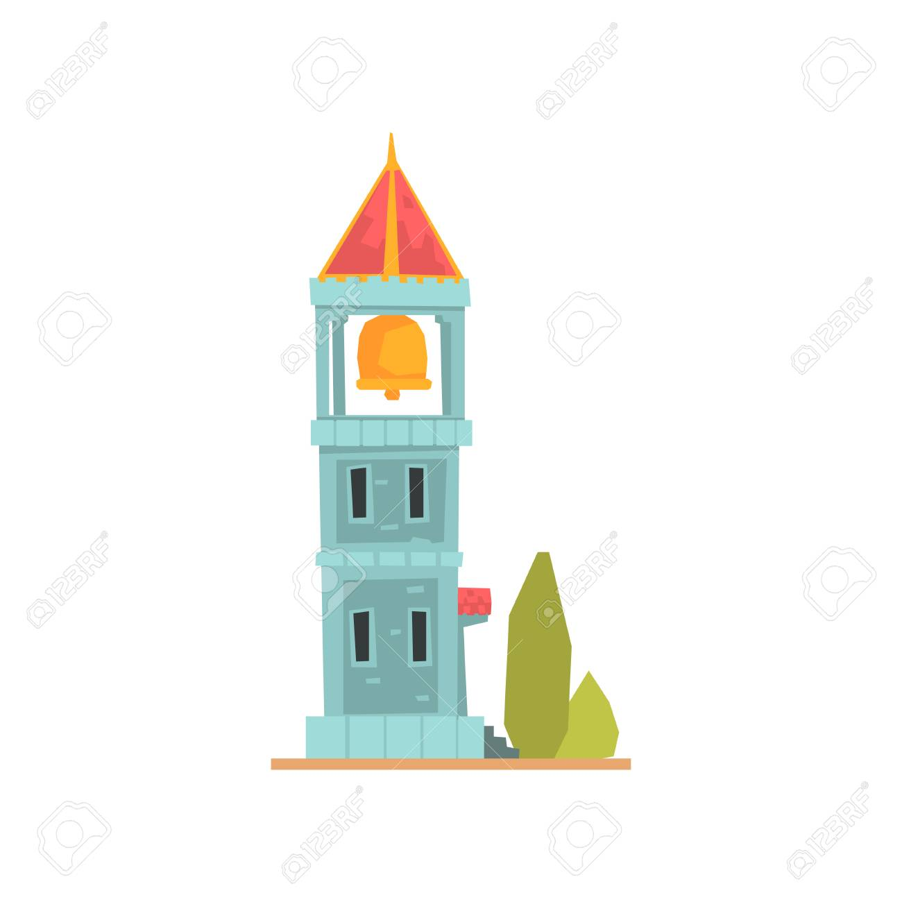 Old stone bell tower, ancient architecture building vector Illustration.