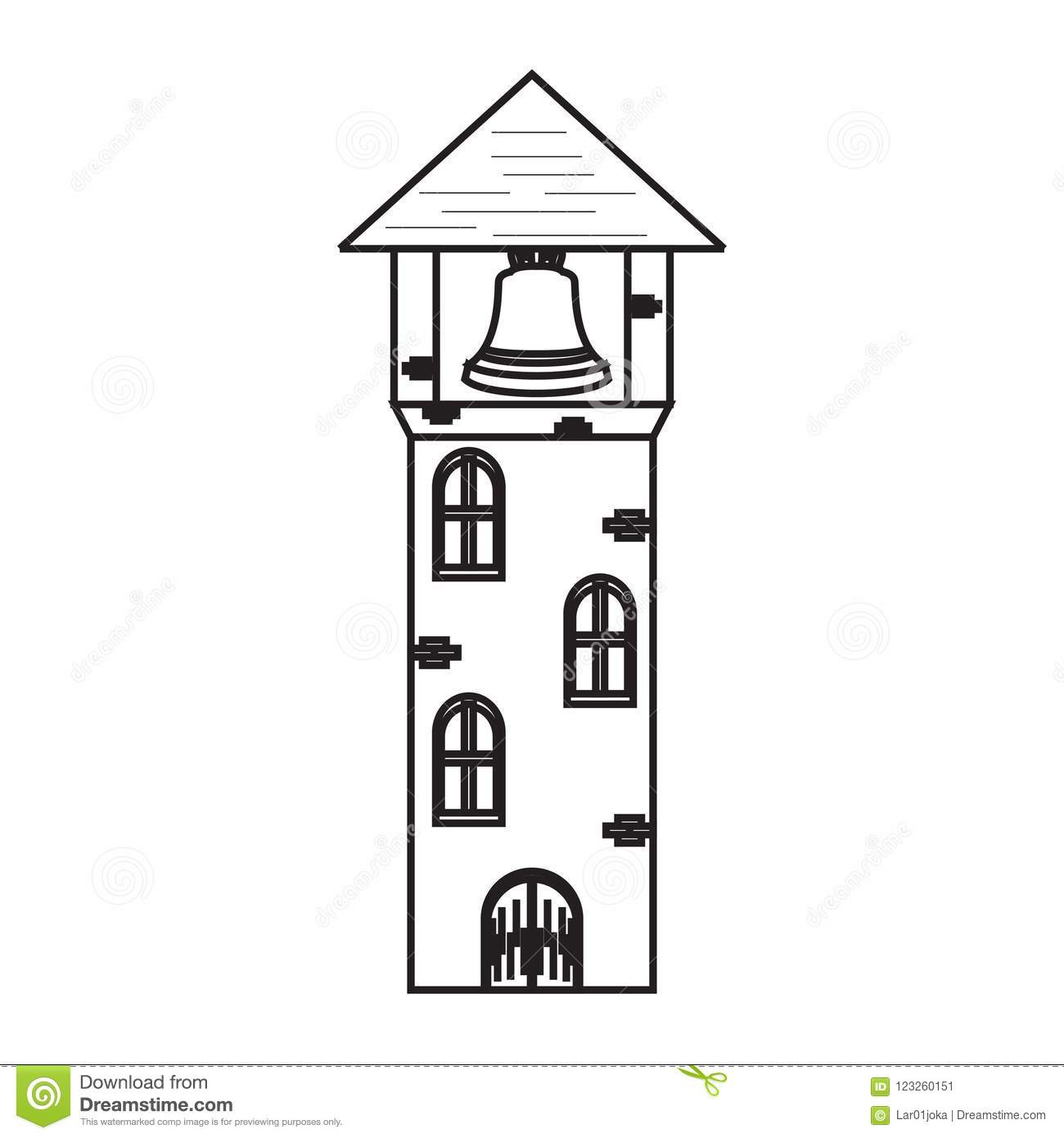Isolated Medieval Tower With A Bell Icon Stock Vector.