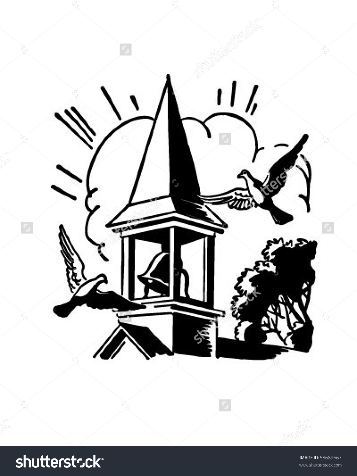 Bell Tower Church Steeple Retro Clip Stock Vector 58689667.