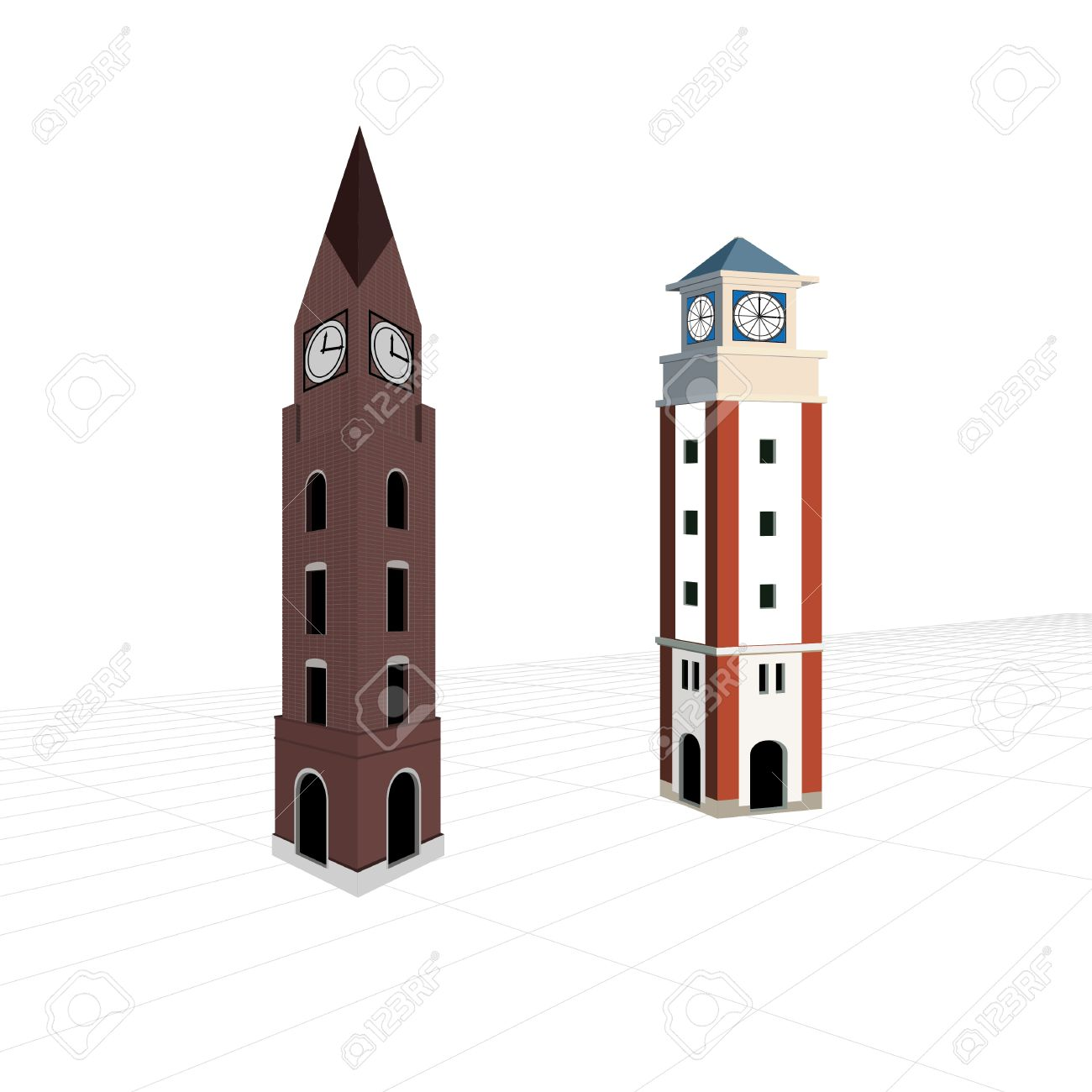 Two Bell Towers On Blueprint Royalty Free Cliparts, Vectors, And.
