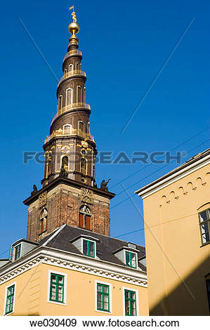 Stock Photograph of Spire of Vor Frelsers Kirke. Church of Our.