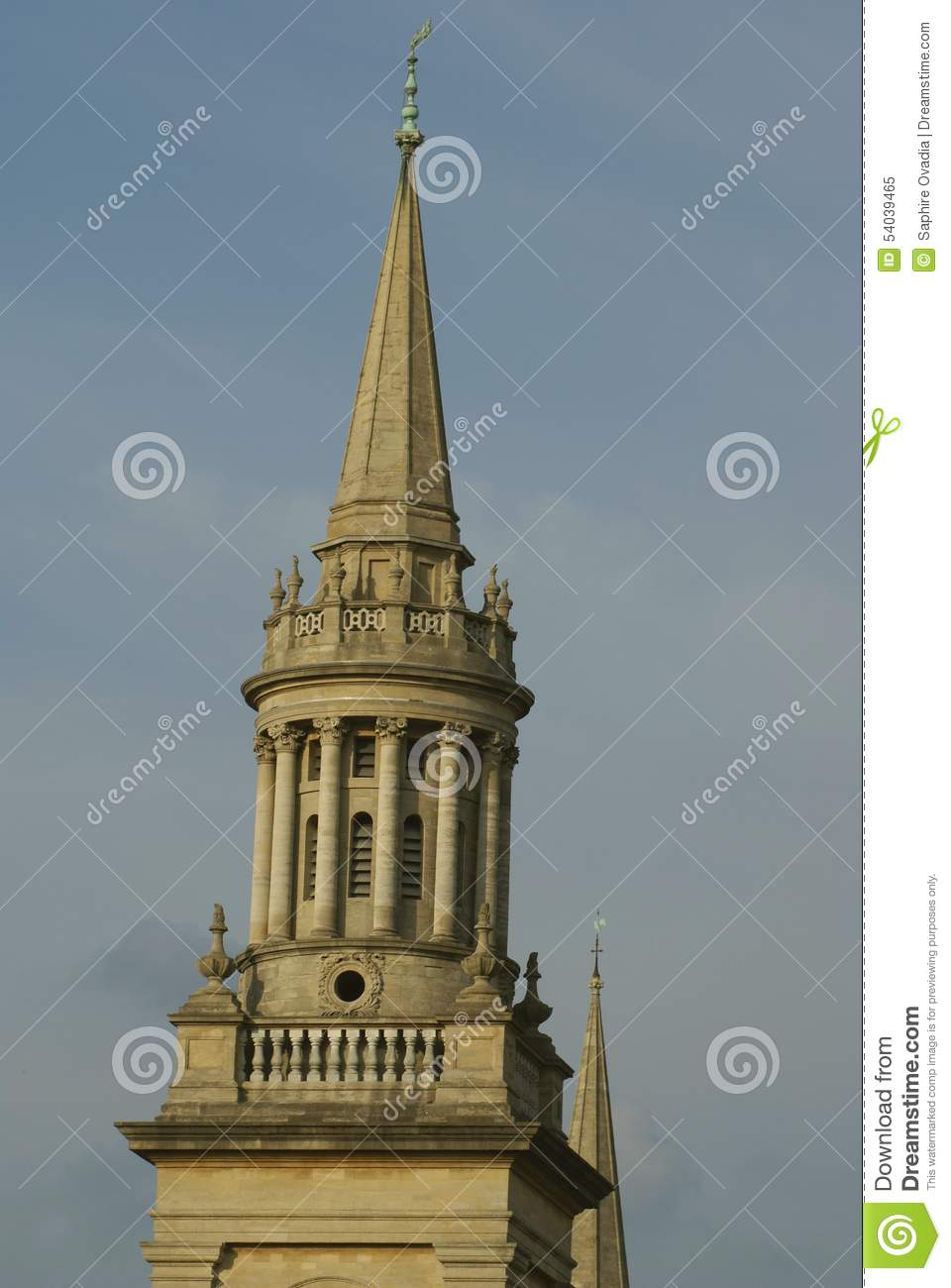The Bell Tower Of All Saints Church In Oxford, England Stock Photo.