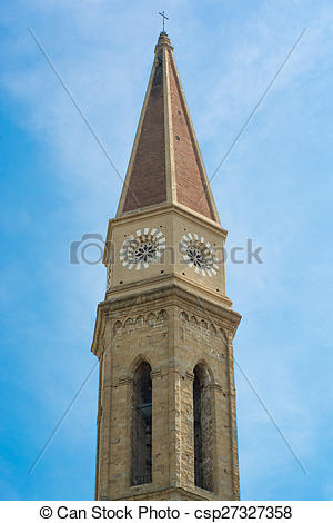 Stock Images of Bell tower of the Cathedral of Arezzo csp27327358.