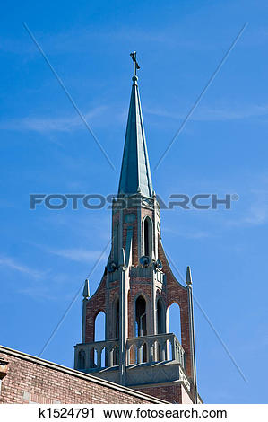 Stock Photography of Church Steeple and Bell Tower k1524791.