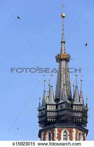 Stock Image of St. Mary's Church Bell Tower.