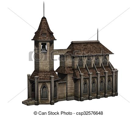 Drawing of Medieval church with bell tower.