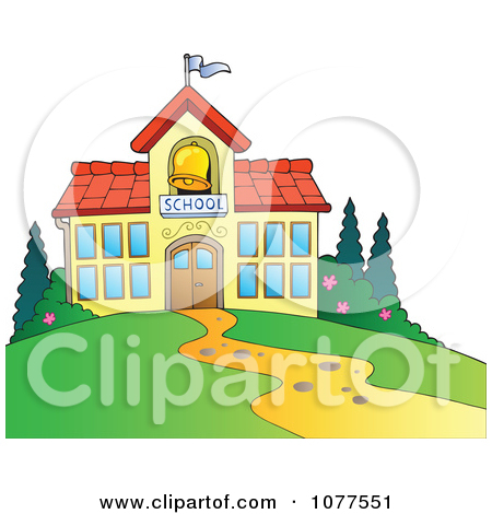 Clipart School Building With A Bell Tower.