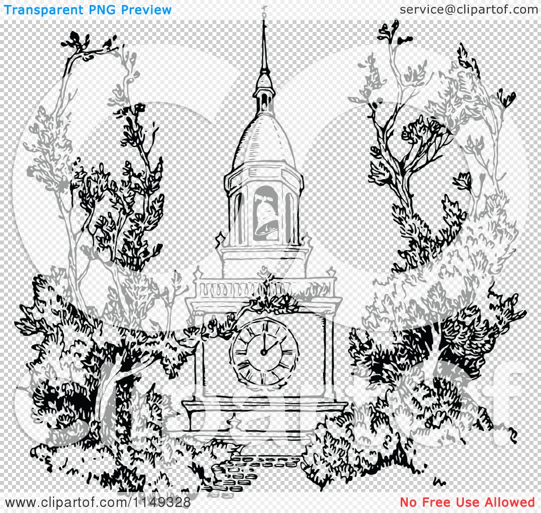 Clipart of a Retro Vintage Black and White Spire Bell Tower.