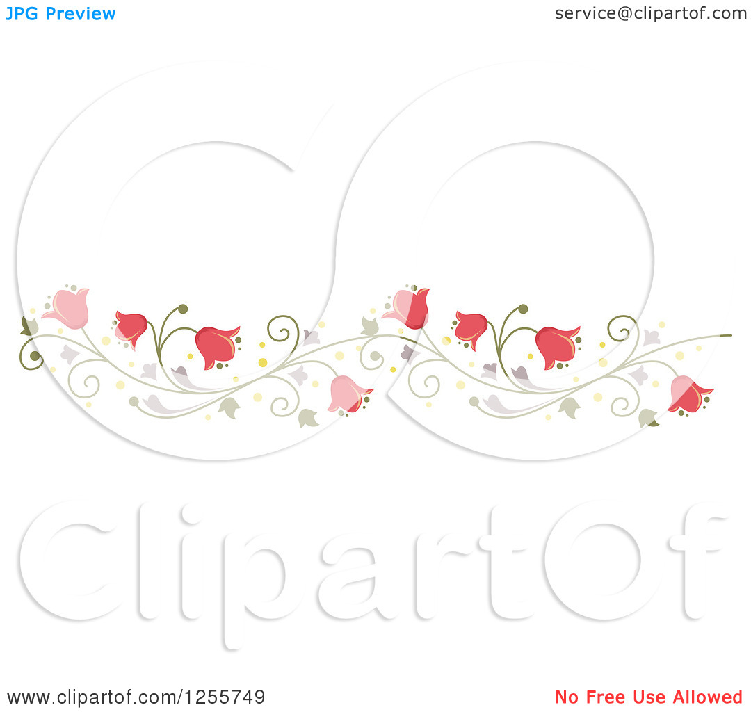 Clipart of a Pink Bell Flower and Vine Border.