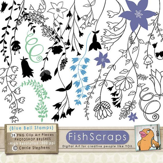 Blue Bell Flower Images, Hand Drawn Doodles, Printable Floral.