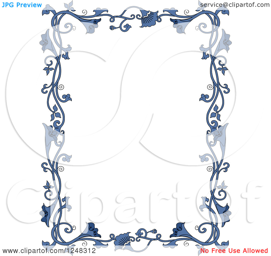 Clipart of a Border of Vintage Blue Floral Vines.