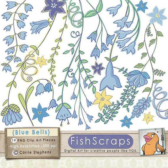 Hand Drawn Blue Bell Flower ClipArt, Bell Flower Vine ClipArt.