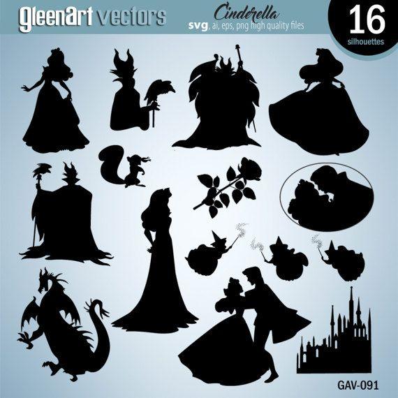 Sleeping Beauty silhouette clipart, silhouette numérique.