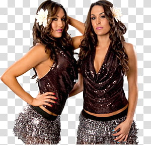 The Bella Twins , two woman in brown sequined top with white flower.