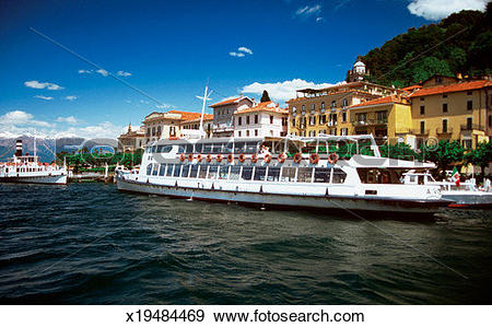 Stock Photograph of Excursion boat on Lake Como, Bellagio, Italy.