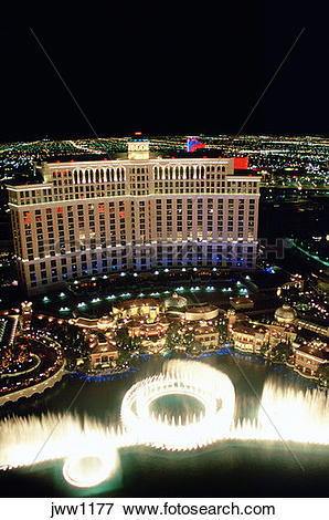 Picture of Aerial view of the Bellagio Hotel and Casino and its.