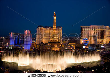 Stock Images of USA, Las Vegas, Nevada, view of Bellagio Fountain.