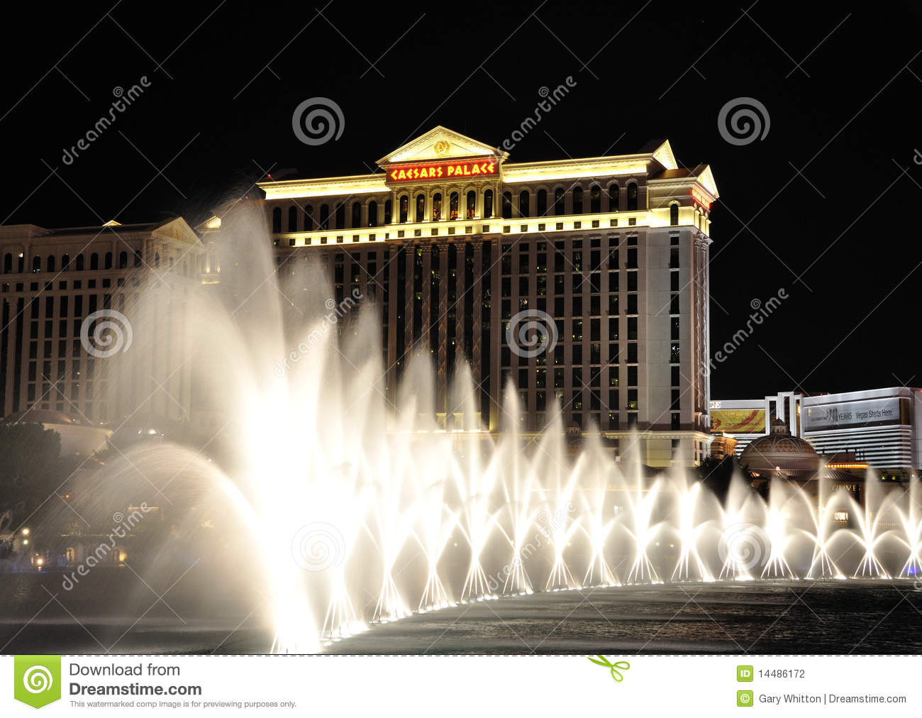 Bellagio Fountains And Caesars Palace.