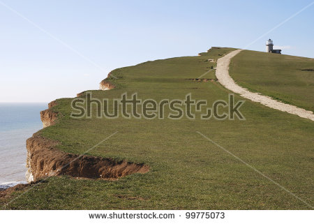 Cliff Top At Beachy Head With Path And Belle Tout Lighthouse.
