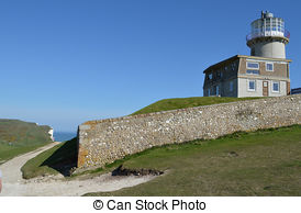 Stock Photographs of Belle Tout Lighthouse at Beachy Head near.