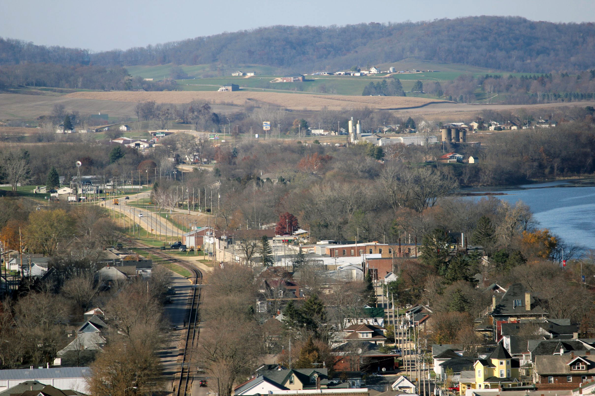 View of the town and hills beyond at Bellevue State Park, Iowa.