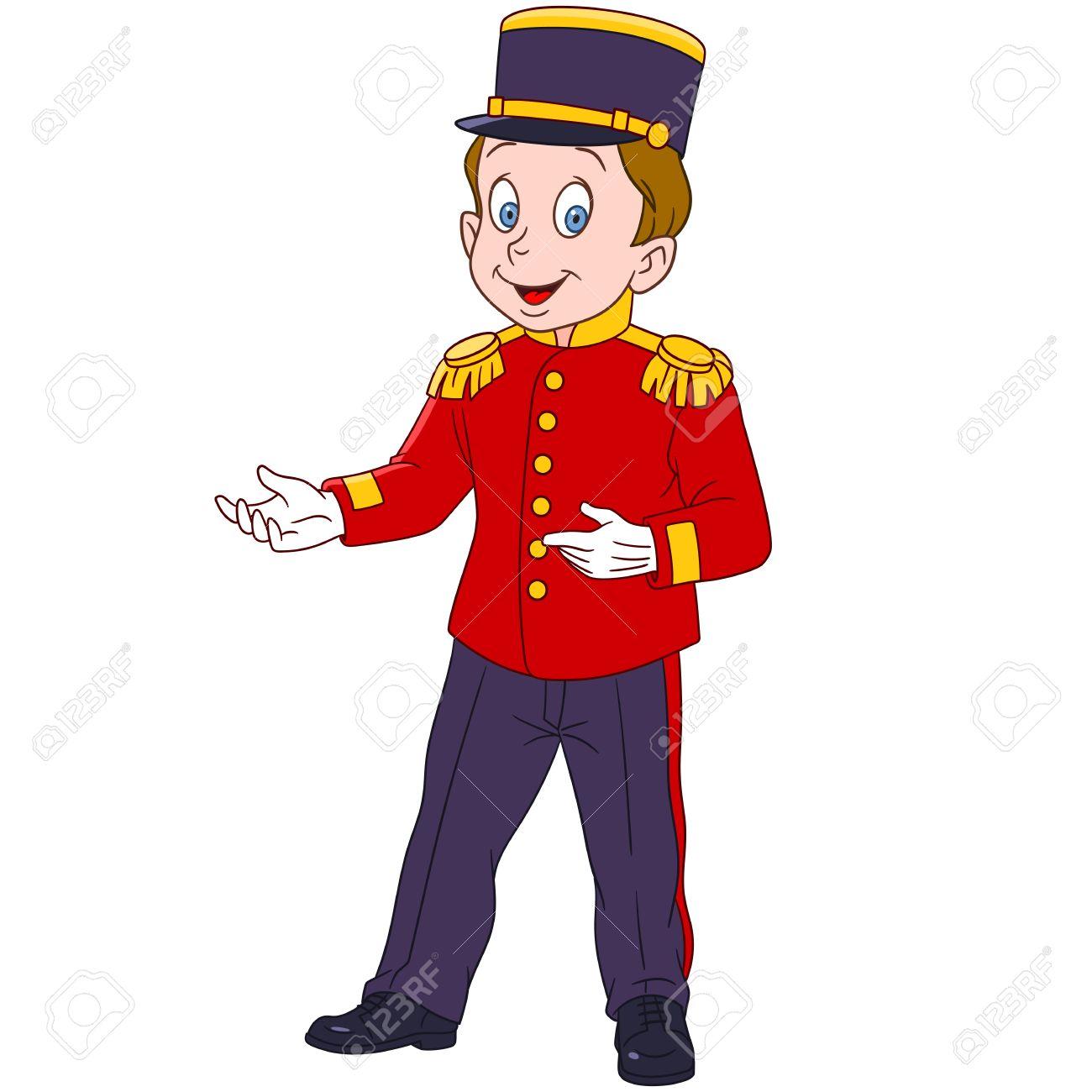 cute and happy cartoon indoor hotel porter (bellboy, bellman,...