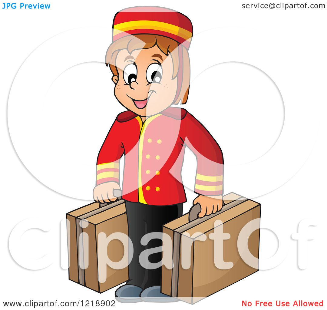 Clipart of a Happy Hotel Bellhop Worker Boy with Luggage.