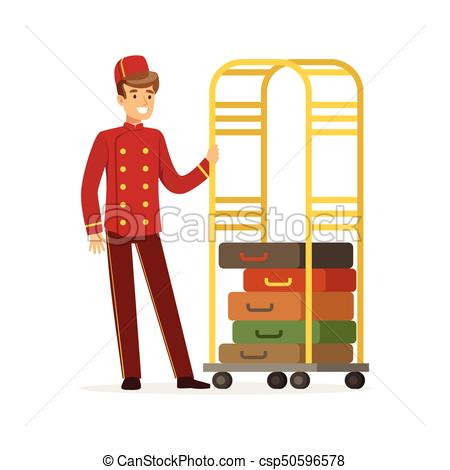 Smiling bellhop character wearing red double breasted uniform with luggage  cart, hotel staff vector Illustration.