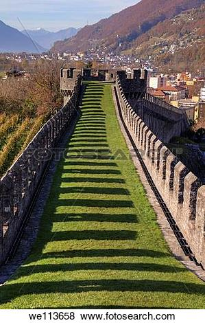 Pictures of Castle walls of Castel Grande in Bellinzona, Ticino.